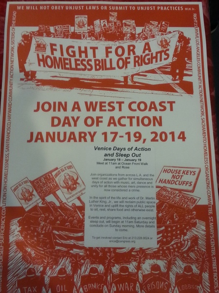 Support A CA Homeless Bill of Rights By Coming To Venice Beach